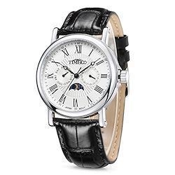 Time100 多機能男性腕時計 ローマ数字 日付 曜日表示 昼夜表示 日本製ムーブメント VX3H メンズ腕時計W80035G (ホワイト)