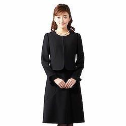 ブラックフォーマル オールシーズン アンサンブル 喪服 礼服 葬儀 一枚着にも 婦人スーツ ノーカラージャケット セレモニー対応 レディース ブラック 7号 B-GALLERY 7 号 ブラック