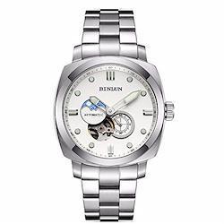 腕時計メンズ ブラック BINLUN 機械式 自動巻き時計 紳士 防水 日付表示 ステンレス鋼 アナログ クラシック ビジネス ウォッチ 男性向け 父の日ギフト 家族友達 [並行輸入品]  全黒