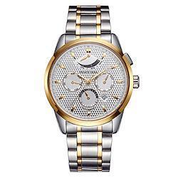 PRINCE GERAメンズ腕時計 パワーリザーブインジケーター 自動巻き 日付表示 日月間カレンダー ステンレススチールドレスウォッチ ゴールド [並行輸入品]  ゴールデン