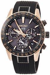 [セイコーウォッチ] 腕時計 アストロン 第3世代 ソーラーGPS チタンモデル 黒文字盤 サファイアガラス ローズゴールドダイヤシールド シリコンバンド SBXC006 メンズ ブラック  文字盤色-ブラック