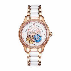 腕時計 レディース PRINCE GERA 高級 機械式 自動巻き 防水 花 ダイヤ 女性 可愛い ウォッチ ローズゴールド腕時計 [並行輸入品] Women