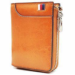 財布 メンズ 二つ折り 人気 本革 小銭入れあり 折りたたみ財布 メンズ レディース 財布カードケース RFID&磁気スキミング防止 13枚カード入れ 小さい財布 ファスナー 写真入れ 大容量 黄 MiYi (ブラウン)  ブラウン