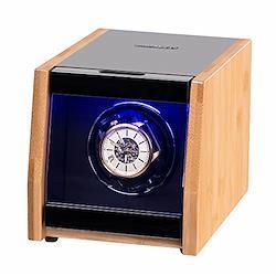 シングルウォッチワインダー LEDライト付き 高光沢 クラフトマンシップ 竹シェル 4段階設定モード 超静音モーター  バンブー