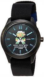 [セイコーウォッチ] 腕時計 アルバ スーパーマリオ コラボレーションモデル 地下ルイージデザイン 黒文字盤 日常生活用強化防水(10気圧) ACCK423 ブラック  文字盤色-ブラック