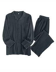 Gifort パジャマ 綿100 長袖 薄手 ルームウェア メンズ レディース ペア 夫婦 上下セット 吸汗 通気 肌に優しい 部屋着 春・夏・秋・冬用 L ダークグレー-メンズ