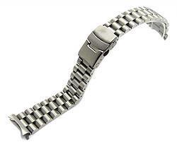 [BASIS+] 腕時計 ステンレス プレジデント 3連 ベルト 弓カン 無垢 ブレスレット for SKX 013 (b. シルバー 20mm)