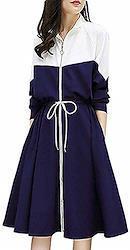 [ビッグバレー] ワンピース レディース ジップアップ スポーティー シャツ 春 服 チュニック きれいめ 大きいサイズ (ネイビー) Free Size ネイビー