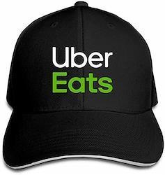 男女兼用 Uber Eats 速乾 帽子 調整可能 春夏 軽薄 アウトドア 日よけ野球帽 (ブラック)  ブラック