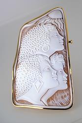 18金台 シェルカメオ ペンダント&ブローチ パトリシア・パルラーティ作 大きめサイズ