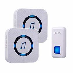 HLFWEワイヤレスチャイム は工事不要、操作簡単、55曲選択 音と光で呼び出し 、介護 飲食店 浴室 玄関などに適用な呼び鈴です。大音量 5段階音量調節の玄関チャイム、聴力弱い方に助かり、防水 防塵 最高300M無線範囲対応的なドアホン