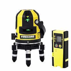 【改良版】Firecore5ライン グリーンレーザー墨出し器 FIR411G レーザーレベル 高輝度 高精度 大矩 受光器対応 回転レーザー線 メーカー1年保証【最先端技術を駆使した墨だし器】【受光器セット】