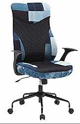 オフィスチェア デニム生地 パッチワーク メッシュ ハイバック パソコン リクライニング キャスター付 事務 デスクチェアー 椅子 いす イス 人気 ジーンズ おしゃれ ジーパン素材 イブ