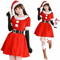 S&C Live クリスマスコスプレ衣装 レディース 大人上品 スタンダード半袖4SETサンタドレス サンタワンピース4点セット サンタ帽子 可愛いファーポンポン サンタ コスプレ サンタコス 激安 クリスマス サンタクロース コスチューム セクシー パーティ 大きいサイズ ワンピース ワンピ ドレ