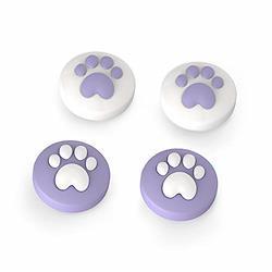 かわいい猫の爪ロッカーキャップ、[ Nintendo Switch & Switch Lite 対応]%カンマ% 親指グリップキャップ%カンマ% ジョイスティックカバー%カンマ% 4個入 紫の  紫の
