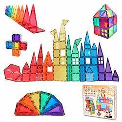 KitWell マグビルド パネル ベーシック 10種類70ピース マグネットブロック おもちゃ 60 赤、青、緑、黄、紫、オレンジ