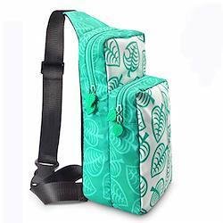 ボディバッグ、子供のショルダーバッグ、クロスボディバッグ レディース、キッズ、親子使用 大容量収納 バッグ 防塵 防水 耐衝撃 外出や旅行用収納バッグ どうぶつの森のテーマ  グリーン