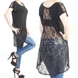 背中 花柄 レース テールカット 透けトップス カットソー tシャツ 黒 ブラック 無地 半袖