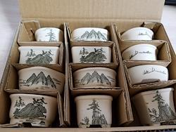 1.5号 磁器山水 豆鉢 箱入 盆栽鉢