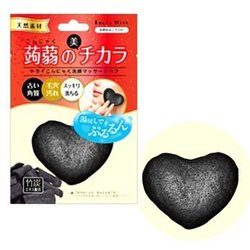 ドライ蒟蒻洗顔マッサージパフ 竹炭 (4903329990303