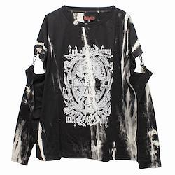 【Deorart ディオラート】ムラ染め タイダイ 袖セパレート アームカバー付 Tシャツ [Gothic] DRT2567