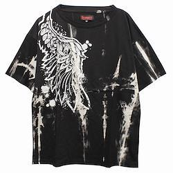 【Deorart ディオラート】ムラ染め タイダイ オーバーサイズ プリント Tシャツ [one wing]