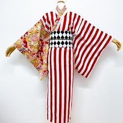 赤×白ストライプと花車ロング着物