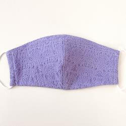 《ノーズワイヤー入り立体マスク》紫レース柄