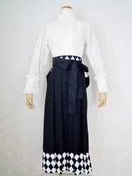 裾ダイヤ柄切り替え袴(黒)