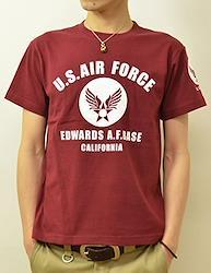 (ジーンズバグ)JEANSBUG U.S. AIR FORCE CA オリジナル エアフォース ミリタリー プリント 半袖 Tシャツ メンズ レディース 大きいサイズ ST-CA L バーガンディ(72)