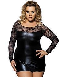 comeondear セクシー ワンピース レースドレス 大きいサイズ レザー チュニック ミニ ボディコン 透け 大人 女性 ブラック