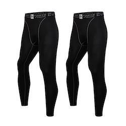sillictor スポーツタイツ メンズ パワーストレッチ ロング アンダーウェア コンプレッション タイツ 2枚セット [UVカット + 吸汗速乾] ブラック 3333*2blk-S