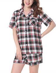 NORATWIPS ルームウェア レディース 前あき パジャマ 大きいサイズ 寝巻き セット 半袖 部屋着 寝心地良い(レッド チェック柄 L)
