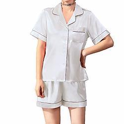 Jove Jek レディース パジャマ 春夏秋 模造シルク 半袖 スーツ なめらか フィット 快適な(shy002ホワイト-xxl)