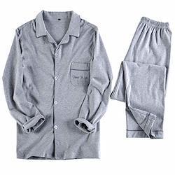 AiLoKoSo パジャマ 上下セット ルームウェア 部屋着 寝巻き スウェット あったか 前開き 長袖 半袖 メンズ レディース セットアップ ペア 春 冬用 ダブルガーゼ 綿100% (メンズXL. グレー&長袖)