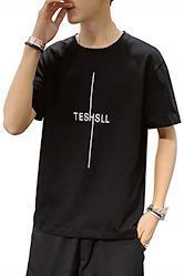 LANSERY tシャツ メンズ 半袖 夏服 カジュアル トップス 綿 丸首 大きいサイズ ゆったり シンプル 無地 薄手 黑 L