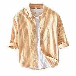 シャツ メンズ 7分袖 長袖 綿麻シャツ チェックシャツ ストライプシャツ カジュアルシャツ トップス おしゃれ ファッション 春 秋 夏