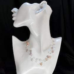 淡水真珠3連シースルーネックレス マルチ