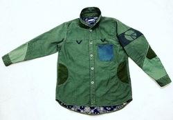 【FURY】 18AW Sulfide dyeing back satin military shirts
