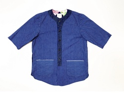 19SS Cotton indigostripe three quarter baseball shirts