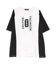 CRY FOR THE MOON 切り替えビッグTシャツ【HELLCATPUNKS】 ブラック ホワイト パープル Fサイズ ユニセックス(HCP-T-0118)