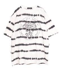 抜染ボーダーTシャツ【HELLCATPUNKS】 ホワイト フリーサイズ ユニセックス (HCP-T-0140)