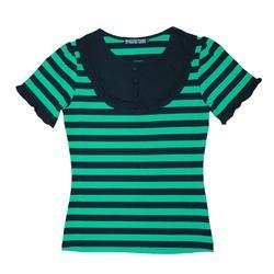 パフスリーブTシャツ【HELLCATPUNKS】 グリーン Mサイズ 半袖Tシャツ ボーダーTシャツ レディース(HCP-C402-01)