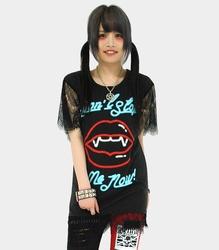 レース切り替えTシャツワンピース【HELLCATPUNKS】ブラック フリーサイズ レースワンピース レディース(HCP-OP-0037)