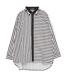 切り替えシャツ【HELLCATPUNKS】 ブラック ホワイト ストライプ ボーダー フリーサイズ レディース ユニセックス (HCP-SH-0017)