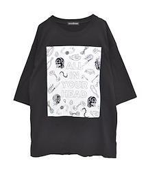 ALL IN YOUR HEAD ビッグTシャツ【HELLCATPUNKS】 ブラック フリーサイズ レディース (HCP-T-0137)