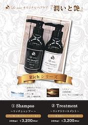 【Richシリーズ】サロンオリジナルヘアケア 潤いと艶 アミノ酸・天然ミネラル・ヘマチン配合 シャンプー300ml