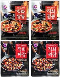 ジャージャー  【直火ジャジャン粉末 直火チャンポン 各2袋】麺料理 簡単調理 本格 ジャジャンの素 チャンポンの素 業務用 韓国料理 ご飯のお供 ごはんのおとも