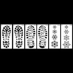 shunxinersty図面テンプレートクリスマスのフットプリントプラスチック製の図面テンプレートDIYスクラップブックフォトアルバム定規Drホワイト6個/セット