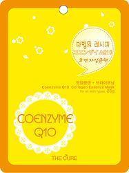 コエンザイムQ10 コラーゲン エッセンス マスク THE CURE シート パック 100枚セット 韓国 コスメ 乾燥肌 オイリー肌 混合肌